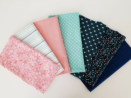 Dark Blue, Teal, White, and Coral Half-Yard Bundle (7 pieces)