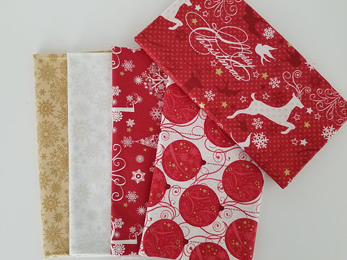 Windham and Benartex Christmas Half-Yard Bundle (5 pieces)