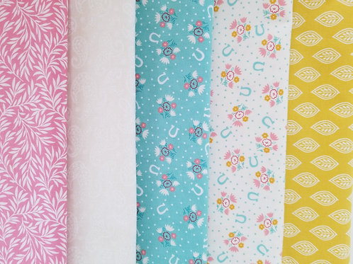Teal and Pink Horseshoes Fat Quarter Bundle (five pieces)