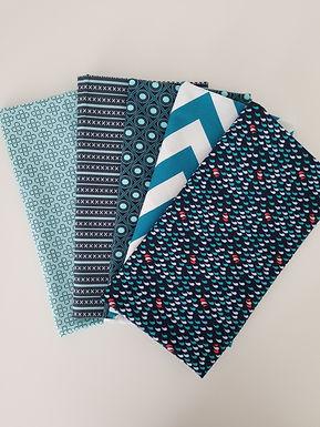 Navy Blue and Teal Half-Yard Bundle (5 pieces)