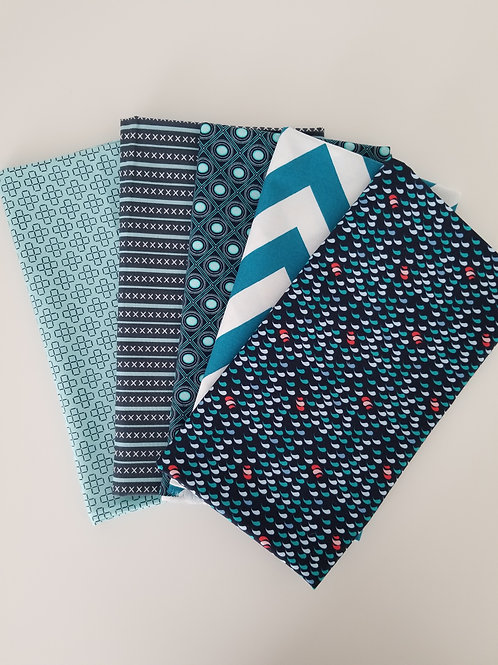 Navy Blue and Teal Half-Yard Bundle (5 pieces)