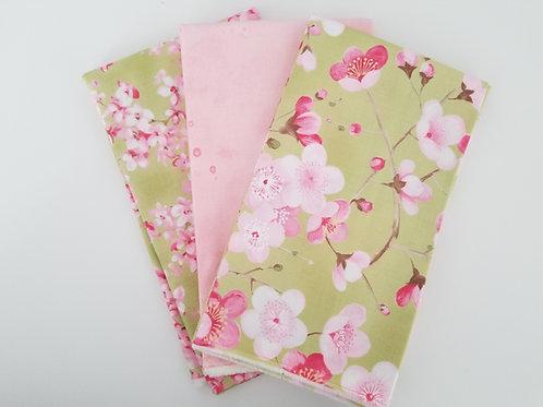 """Curated Moda Fabrics """"Sakura and Meow or Never"""" Yard Bundle (3 pieces)"""