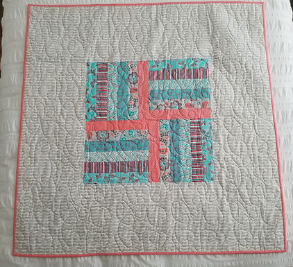 Coral, Teal, Gray, and White Lap/Baby Quilt