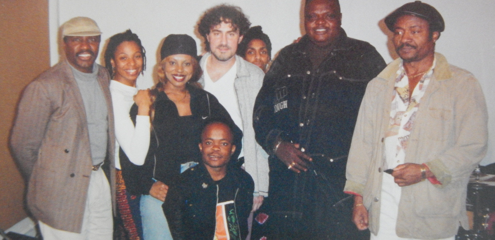 Rehearsal break with Pepe Kale and Dokolos and band getting ready to tour the U.S. in 1997