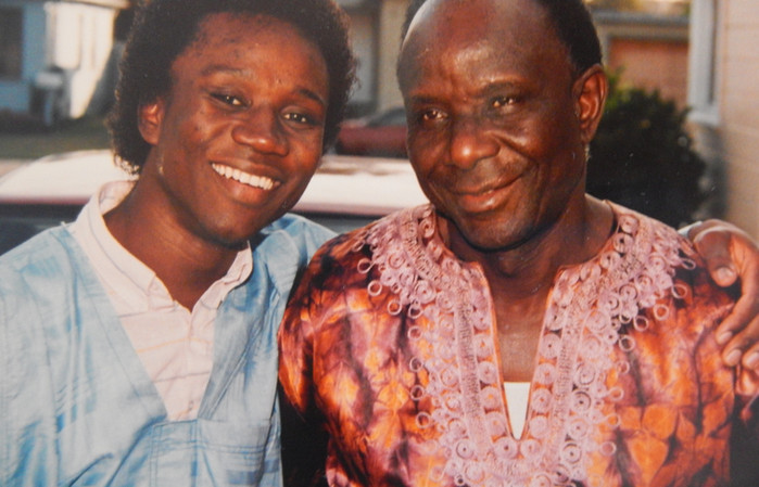 Rogee Roger and his father Soleiman Rogie creator of the African palm wine music from Sierra Leone (circa 1990)