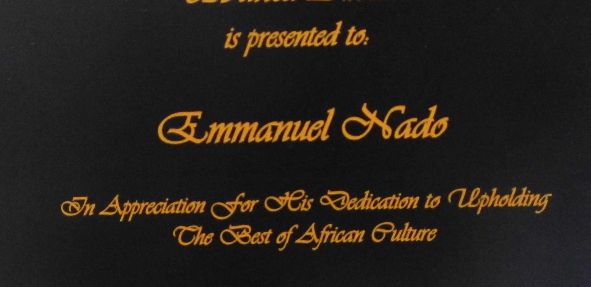 I was honored to be presented this award of Priority Africa Network Organization's Ubuntu  Award.