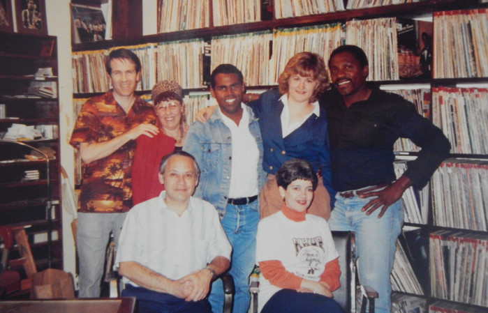 Hosting African music fans on my show Echoes of Africa at KKUP radio Cupertino (circa mid-90s)