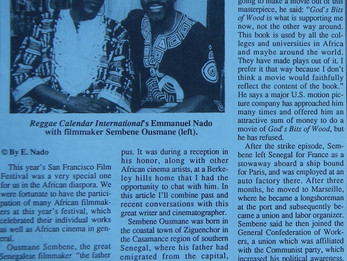 Interview of Sembene Ousmane the father of African cinema. (Oakland California 1994) Part 1
