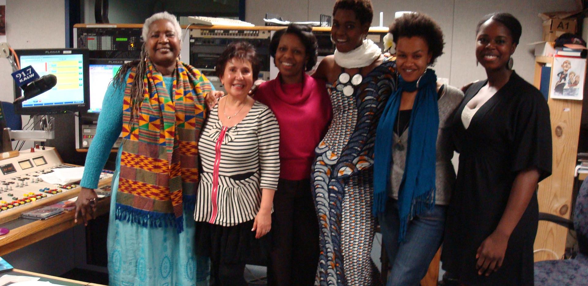 International Women Day, bay area women artists on  Africamix. from left to right, Bobby Cespedes,Raquel Biton,Muadi Mukenge,Fely Tchaco, Meklit, Akosua