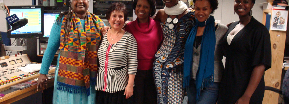 International Women Day, bay area women artists on  Africamix. from left to right, Bobby Cespedes,Raquel Biton,Muadi Mukenge,Fely Tchaco, Meklit, Akosua