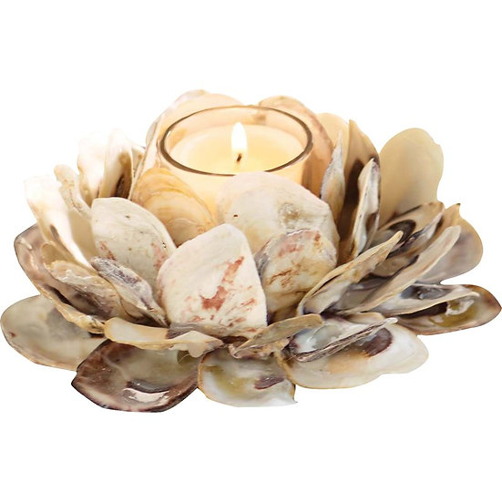 Oyster shell votive candle holder made with real oyster shells
