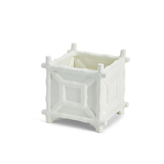 White ceramic faux bamboo cachepot