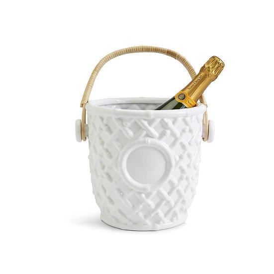 White ceramic modern Chinoiserie style faux bamboo wine bucket