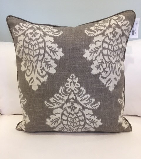 26 inch square damask throw pillow in taupe and ivory