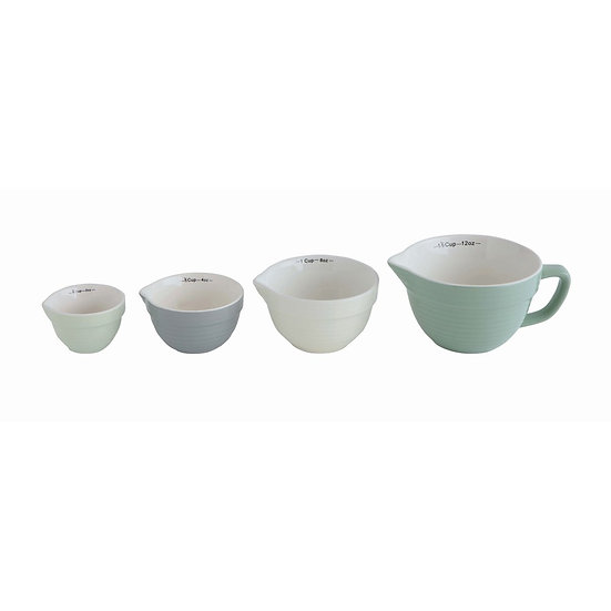 Colorful set of stackable stoneware measuring cups