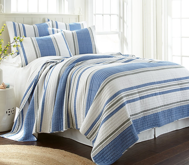 St. Bart stripe quilted coverlet bedding set