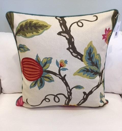 26 inch square Mondavi print botanical throw pillow with aqua welt edge