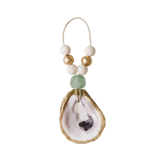Gold oyster shell Christmas ornament with seaglass and wooden beads