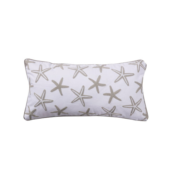 Nantucket grey and white starfish throw pillow