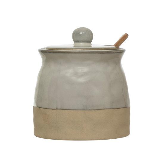 Stoneware Ceramic Sugar Pot with Spoon