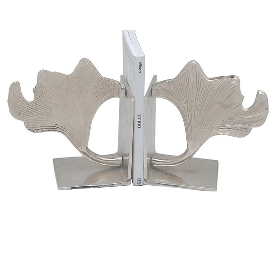 Silver ginkgo leaf bookends
