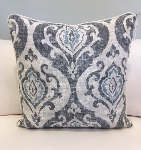 Grey & Blue Damask Throw Pillow