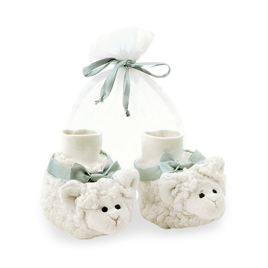Little lamb unisex baby booties with cuff in gift bag.
