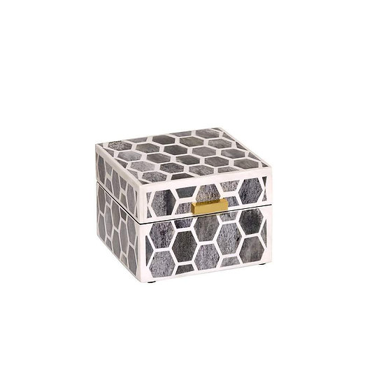 Small jewelry mosaic tile box with hinged lid