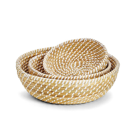 Round seagrass baskets available in three stackable sizes