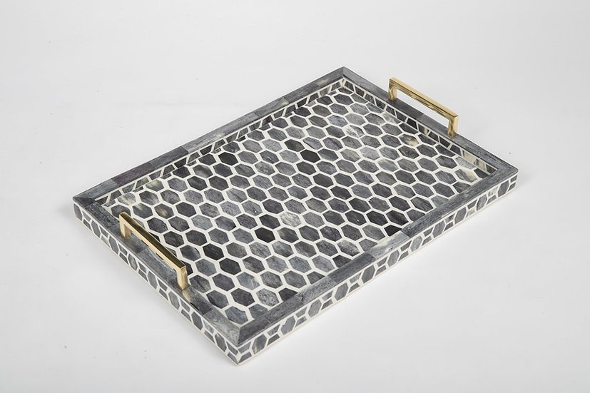 Large bone and wood mosaic serving tray with brass handles