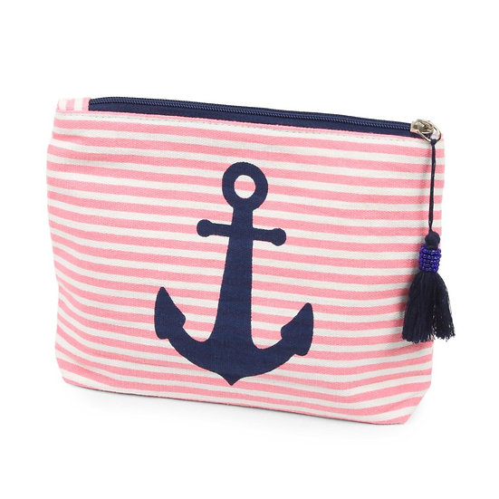 Nautical striped anchor print makeup travel pouch with zipper closure