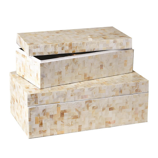 Stackable Lamina mother of pearl boxes