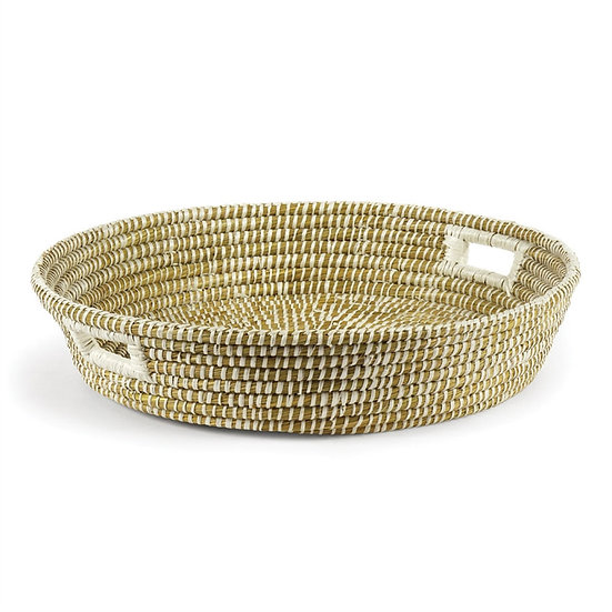 Hand woven round rivergrass low bowl basket with handles for home decor