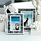 Mendocino blue and ivory carved bone picture frames