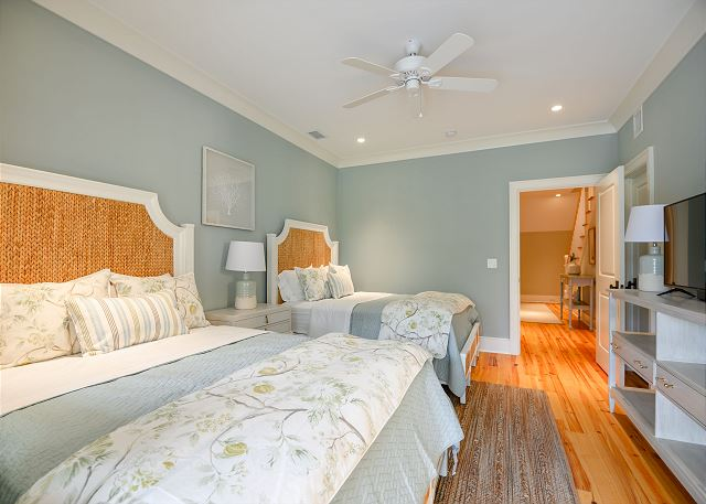 Kiawah Island modern beach house double bed guest room
