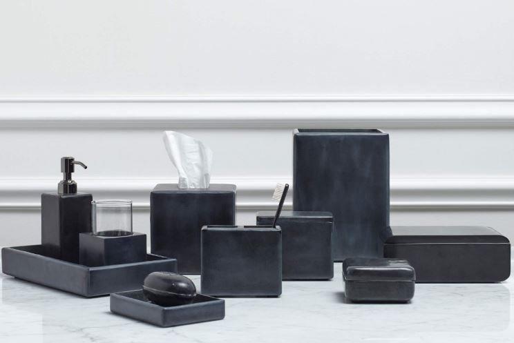 Aubergine Home Collection bathroom decor store Noir stone bathroom accessories by Kassatex