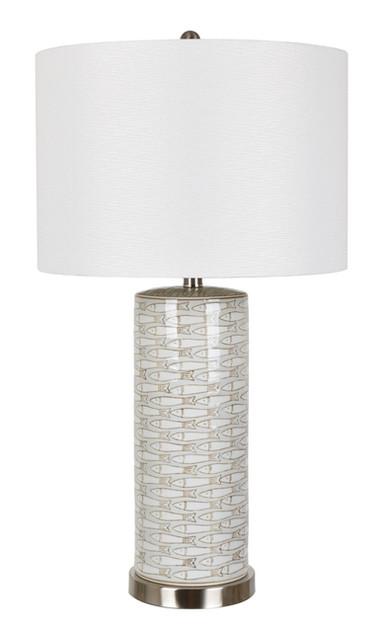 Morrison Ceramic Fish-Print Table Lamp