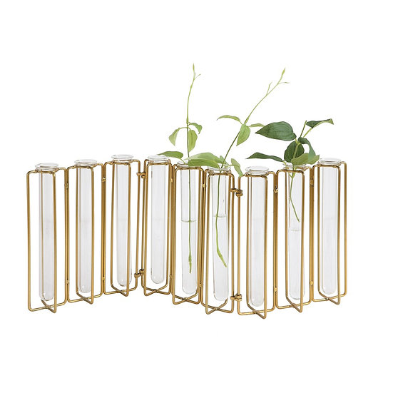 Hinged flower bud vases in a gold finish with 9 glass test tubes