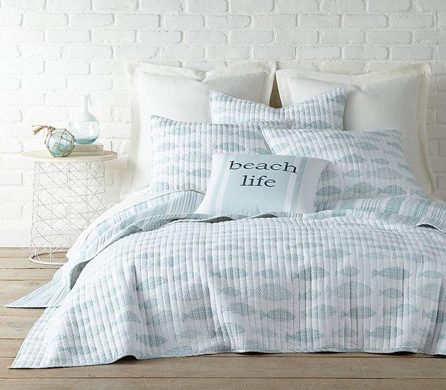 Aqua Breeze quilted coverlet bedding set