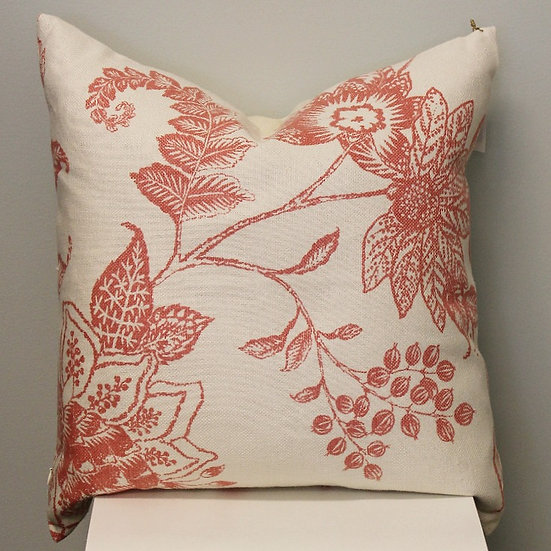 Coral Linen Pillow Cover