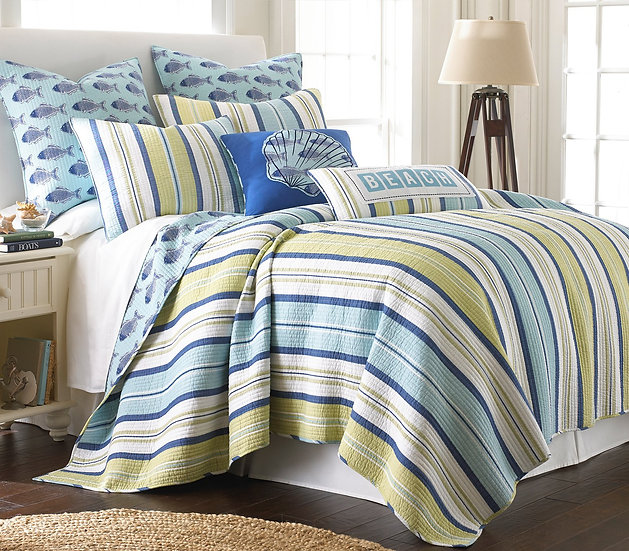 Bayport Stripe quilted coverlet bedding set