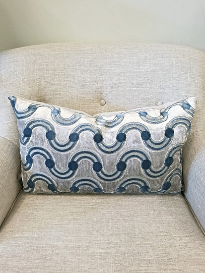 Wavy stripe cut velvet throw pillow in shades of grey and blue