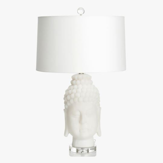 Frosted Buddha Head Table Lamp
