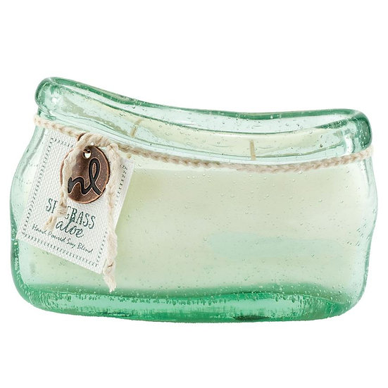 Recycled glass Windward scented candle in Seagrass and Aloe