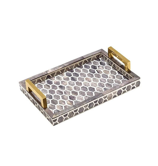 Small bone and wood mosaic serving tray with brass handles
