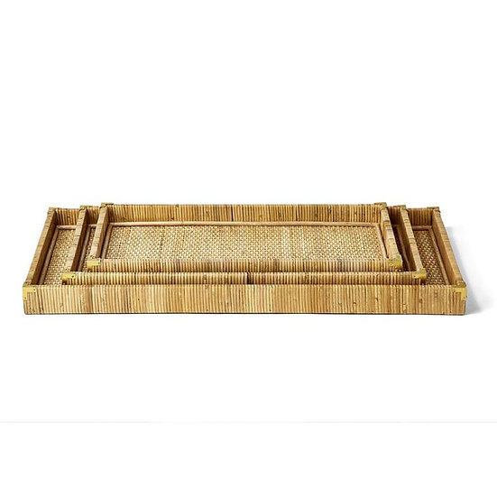 Oversized rectangular rattan trays with woven edges and bottom