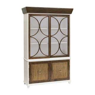 Rattan-Front Sliding Door Cabinet