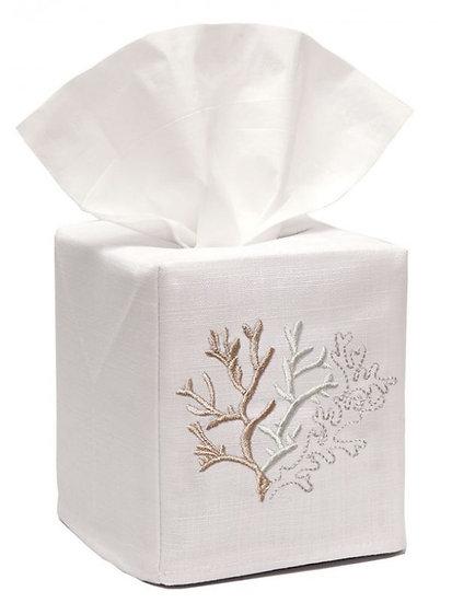 Sea Life Embroidered White Linen Tissue Box Cover