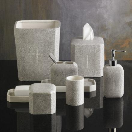 Aubergine Home Collection bathroom decor store Shagreen ceramic bathroom accessories by Kassatex