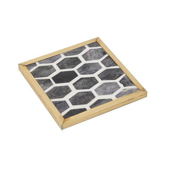 Mosaic coaster with grey bone inlay in brass frame